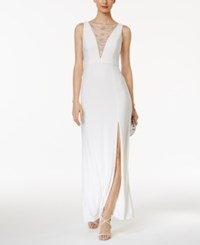 Adrianna Papell Embellished Mesh Slit Gown White