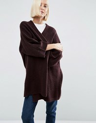 Asos Cardigan In Oversized Shape Berry Brown