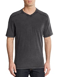 Saks Fifth Avenue Blue Ribbed Panel Cotton V Neck Tee Charcoal