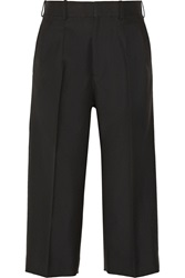 Victoria Beckham Cropped Wool Wide Leg Pants Black