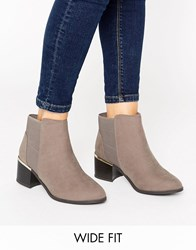 New Look Wide Fit Suedette Metal Detail Ankle Boot Brown