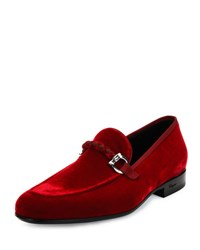 Salvatore Ferragamo Lord 2 Velvet Slip On Loafer Red