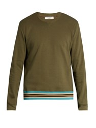 Valentino Striped Hem Cotton Blend Jersey Sweatshirt Green