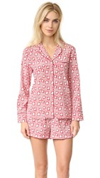 Stella Mccartney Poppy Snoozing Pj Set Red Hearts Lips Print