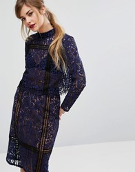 Fashion Union Lace And Ladder Crop Top Co Ord Navy