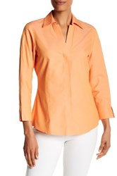 Foxcroft Long Sleeve Solid Fitted Blouse Orange