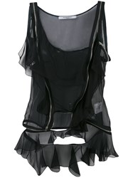 Givenchy One Shoulder Top Women Silk 38 Black