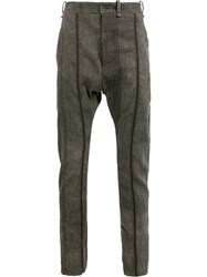 Masnada Striped Tailored Trousers Grey