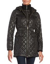 Kate Spade Packable Diamond Quilted Hooded Puffer Coat Black