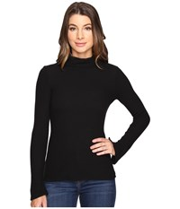 Michael Stars Super Soft Madison Rib Turtleneck Black Women's Long Sleeve Pullover