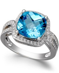 Macy's Blue Topaz 4 3 4 Ct. T.W. And Diamond 1 3 Ct. T.W. Ring In 14K White Gold
