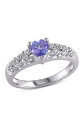 Sterling Silver Heart Shape Tanzanite And Diamond Accented Band Purple