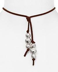 Robert Lee Morris Soho Leather Beaded Choker Necklace 14 Brown Silver