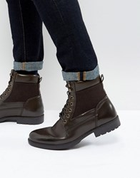 Asos Lace Up Boots In Brown Faux Leather
