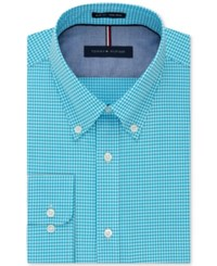 Tommy Hilfiger Men's Slim Fit Non Iron Check Dress Shirt Aqua