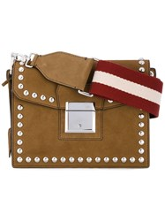Bally Small Grimoire Shoulder Bag Women Cotton Leather One Size Brown