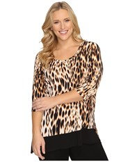 Karen Kane Plus Size 3 4 Sleeve Contrast Hem Tunic Top Leopard Print Women's Blouse Animal Print