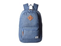 Herschel Lennox Limoges Crosshatch Tan Leather Backpack Bags Blue