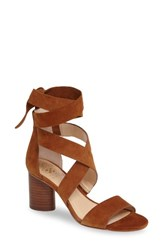 Vince Camuto Women's Jeneve Block Heel Sandal Maple Brown Suede
