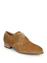 Pierre Corthay Sergio Pullman Suede Lace Up Derby Oxfords Castor Tan