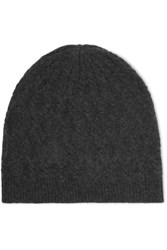 Madeleine Thompson Cable Knit Cashmere Beanie Charcoal
