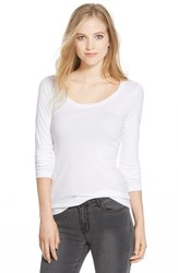 Caslonr Women's Caslon 'Melody' Long Sleeve Scoop Neck Tee White