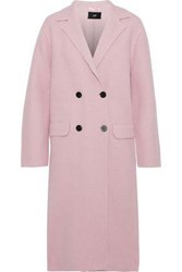 Line Double Breasted Cotton And Wool Blend Coat Baby Pink