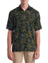 Saks Fifth Avenue Collection Printed Cotton Button Down Shirt Gold