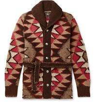 Rrl Shawl Collar Intarsia Linen Blend Cardigan Multi