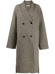Odeeh Plaid Double Breasted Coat Brown