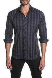 Jared Lang Long Sleeve Vertical Stripe Detail Semi Fitted Shirt Blue
