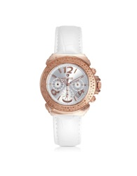 Lancaster Pillo Chrono Rose' Stainless Steel And Lether Women's Watch Pink