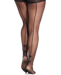 Pretty Polly Plus Size Bow Backseam Tights Black