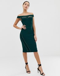 Lipsy Bandage Midi Dress With Lace Up Detail In Green Green