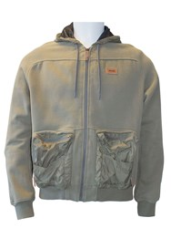 Jeep Mens Hooded Sweatshirt With Nylon Pockets Army