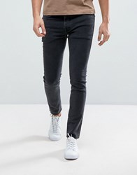 Selected Homme Jeans In Skinny Fit With Raw Hem Black