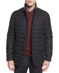 Ermenegildo Zegna Flannel Wool Channel Quilted Down Jacket Gray