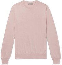 Canali Slim Fit Cotton Sweater Pink