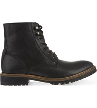 Kg By Kurt Geiger Hibbert Leather Worker Boots Black