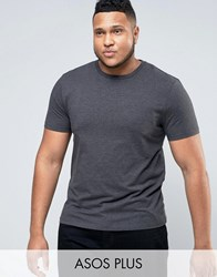 Asos Plus Muscle T Shirt In Charcoal Marl Charcoal Marl Grey