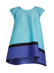 Issey Miyake Spinning Bounce Capped Sleeve Pleated Top Blue Multi