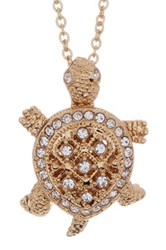 Nadri Crystal Pave Turtle Pendant Necklace Metallic