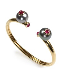 Prince Dimitri For Assael 18K Tahitian Pearl And Ruby Bangle Bracelet Women's