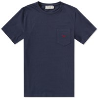 Maison Kitsune Embroidered Fox Tee Blue