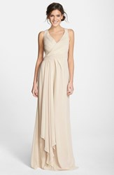 Women's Monique Lhuillier Bridesmaids Sleeveless V Neck Chiffon Gown Champagne