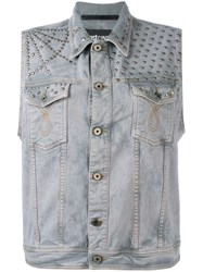 Just Cavalli Sleeveless Denim Jacket Men Cotton Spandex Elastane Aluminium 46 Grey