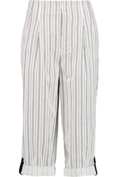 Alice Olivia Rey Leather Trimmed Striped Cotton Twill Culottes Ivory
