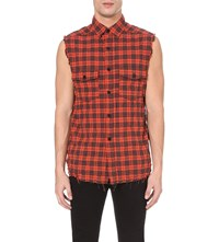 Saint Laurent Sleeveless Checked Shirt Red