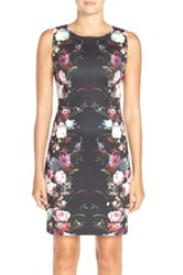 Felicity And Coco Floral Print Scuba Sheath Dress Black