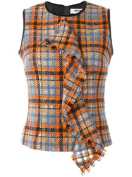 Msgm Draped Checked Tank Multicolour